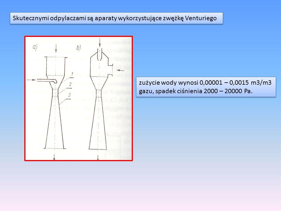 Skutecznymi odpylaczami są aparaty wykorzystujące zwężkę Venturiego zużycie wody wynosi 0,00001 – 0,0015 m3/m3 gazu, spadek ciśnienia 2000 – 20000 Pa.