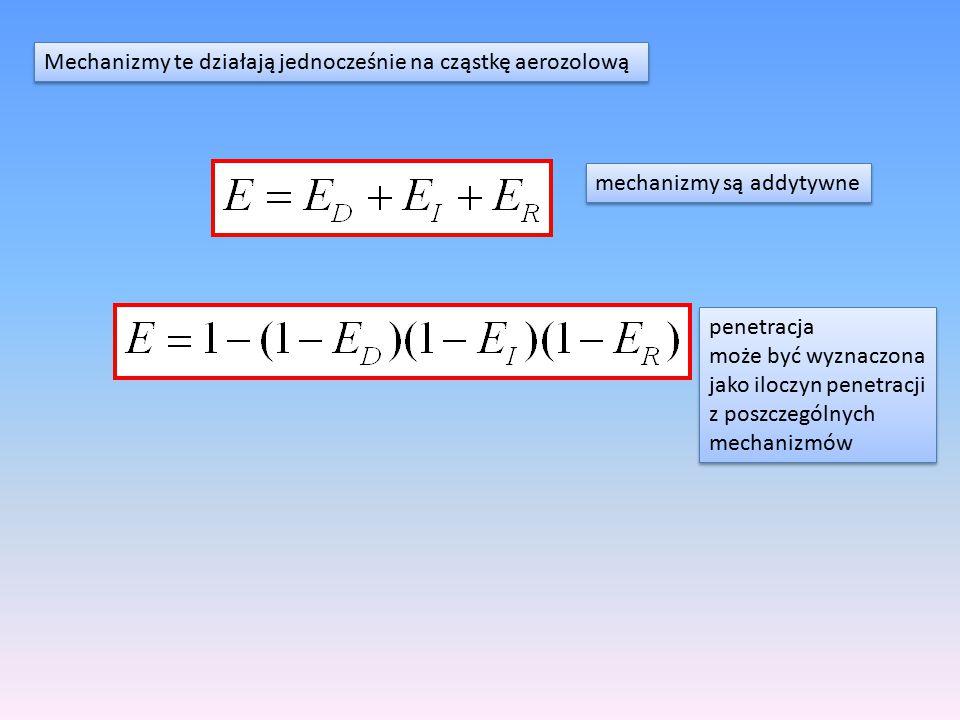 Mechanizmy te działają jednocześnie na cząstkę aerozolową mechanizmy są addytywne penetracja może być wyznaczona jako iloczyn penetracji z poszczególn