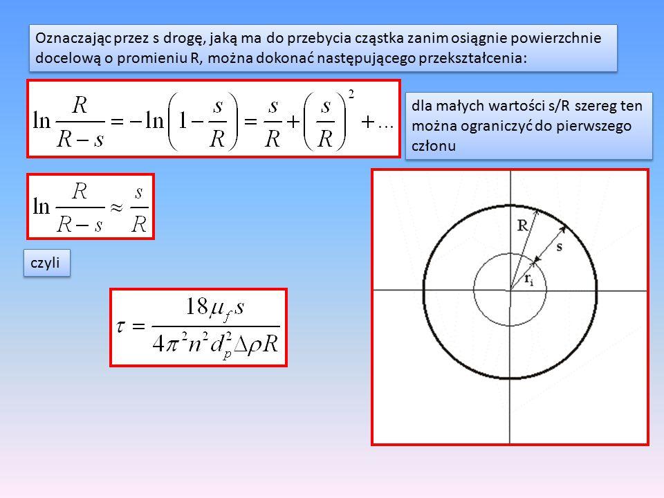Oznaczając przez s drogę, jaką ma do przebycia cząstka zanim osiągnie powierzchnie docelową o promieniu R, można dokonać następującego przekształcenia