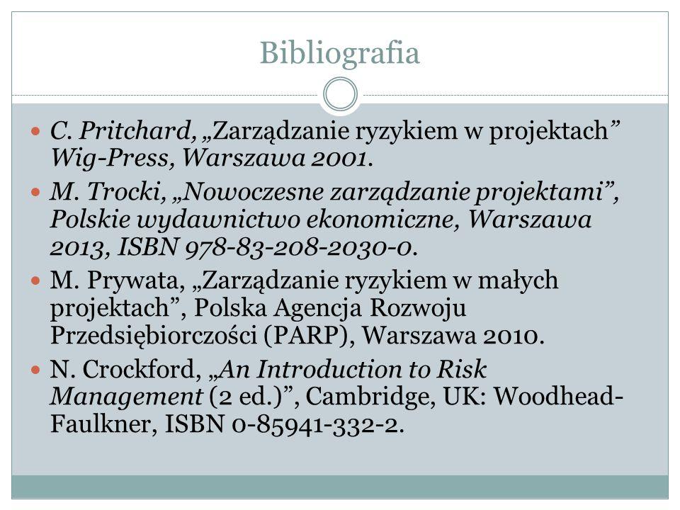 """Bibliografia C. Pritchard, """"Zarządzanie ryzykiem w projektach"""" Wig-Press, Warszawa 2001. M. Trocki, """"Nowoczesne zarządzanie projektami"""", Polskie wydaw"""