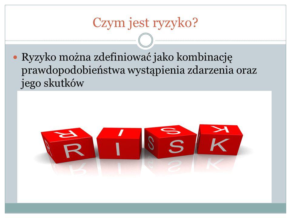Czym jest ryzyko? Ryzyko można zdefiniować jako kombinację prawdopodobieństwa wystąpienia zdarzenia oraz jego skutków