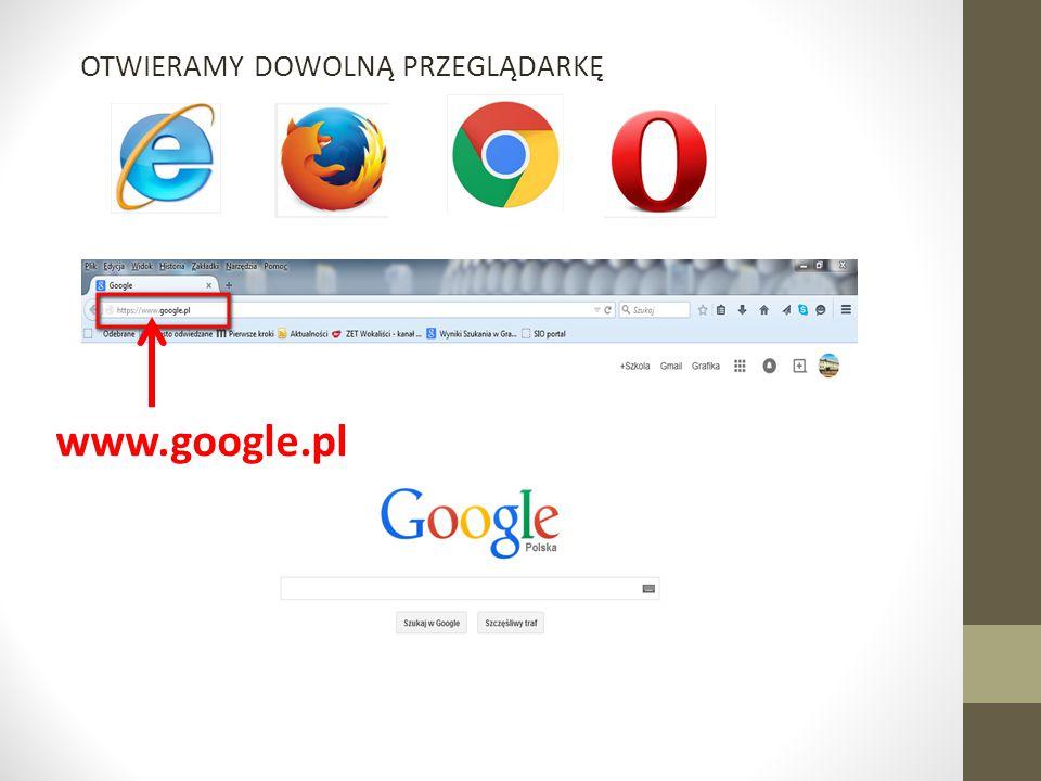 OTWIERAMY DOWOLNĄ PRZEGLĄDARKĘ www.google.pl