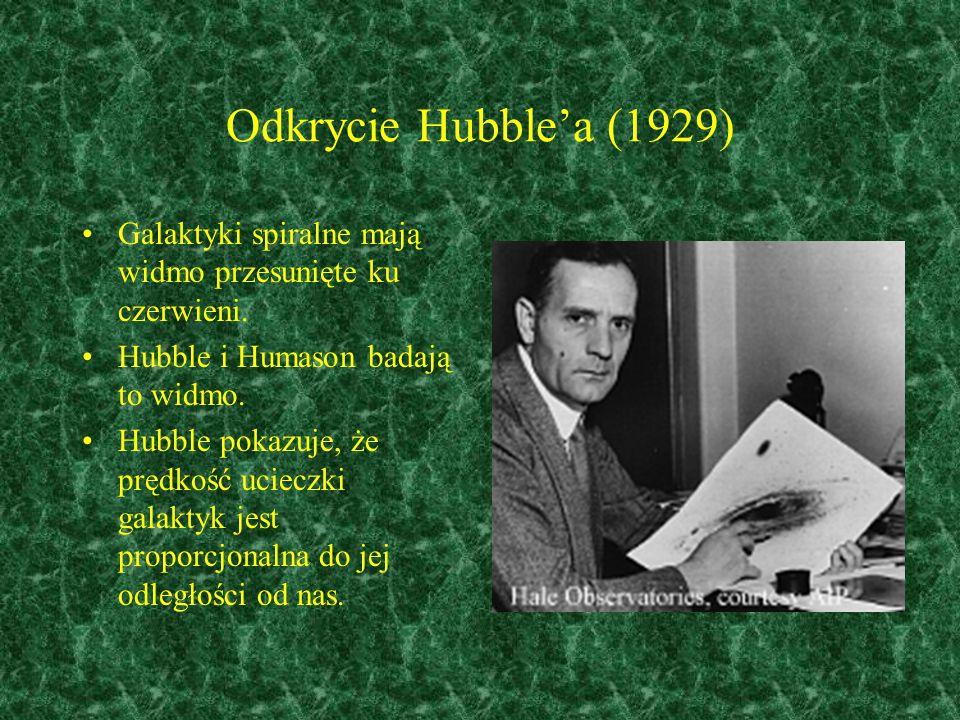 Odkrycie Hubble'a (1929) Galaktyki spiralne mają widmo przesunięte ku czerwieni. Hubble i Humason badają to widmo. Hubble pokazuje, że prędkość uciecz