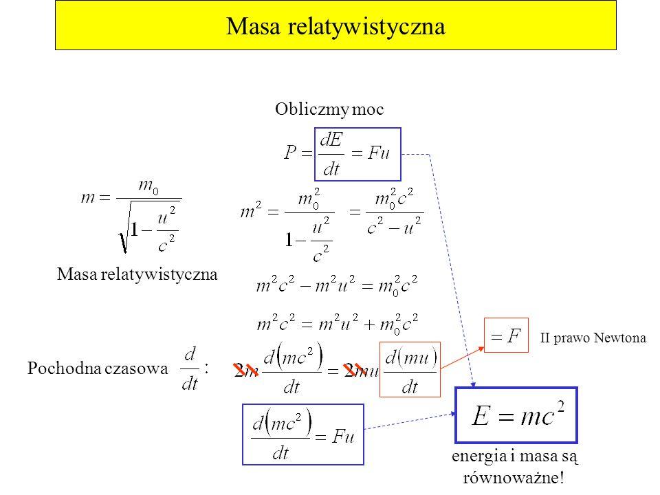 Masa relatywistyczna Obliczmy moc Pochodna czasowa II prawo Newtona energia i masa są równoważne! Masa relatywistyczna