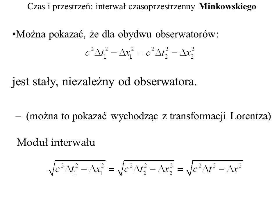 Czas i przestrzeń: interwał czasoprzestrzenny Minkowskiego Można pokazać, że dla obydwu obserwatorów: jest stały, niezależny od obserwatora. –(można t