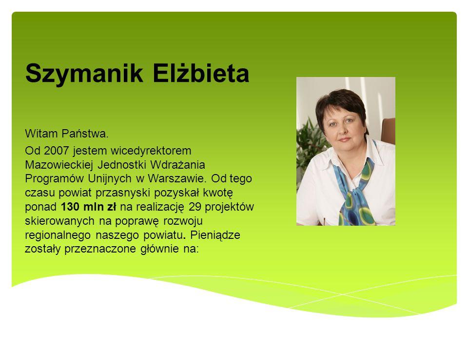 Szymanik Elżbieta Witam Państwa. Od 2007 jestem wicedyrektorem Mazowieckiej Jednostki Wdrażania Programów Unijnych w Warszawie. Od tego czasu powiat p
