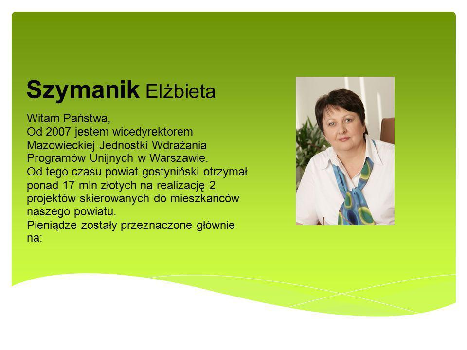 Szymanik Elżbieta Witam Państwa, Od 2007 jestem wicedyrektorem Mazowieckiej Jednostki Wdrażania Programów Unijnych w Warszawie. Od tego czasu powiat g