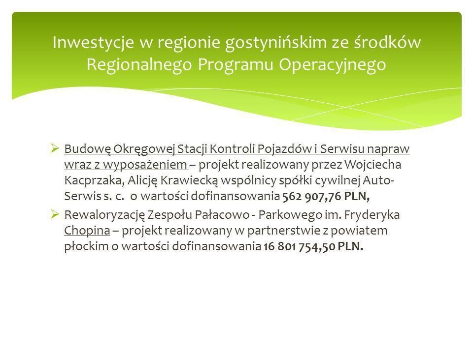  Budowę Okręgowej Stacji Kontroli Pojazdów i Serwisu napraw wraz z wyposażeniem – projekt realizowany przez Wojciecha Kacprzaka, Alicję Krawiecką wspólnicy spółki cywilnej Auto- Serwis s.