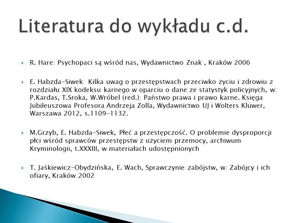  R. Hare: Psychopaci są wśród nas, Wydawnictwo Znak, Kraków 2006  E. Habzda-Siwek: Kilka uwag o przestępstwach przeciwko życiu i zdrowiu z rozdziału