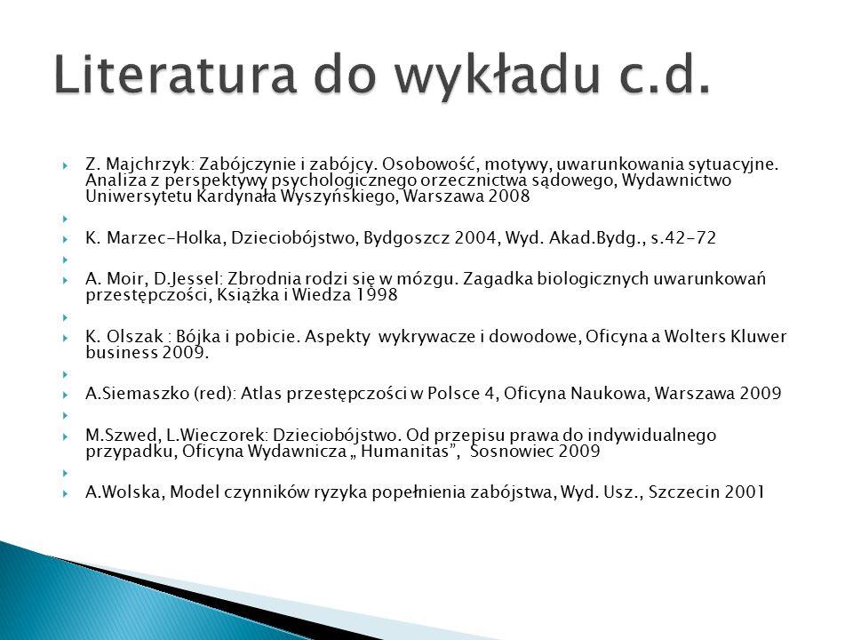  Z. Majchrzyk: Zabójczynie i zabójcy. Osobowość, motywy, uwarunkowania sytuacyjne. Analiza z perspektywy psychologicznego orzecznictwa sądowego, Wyda