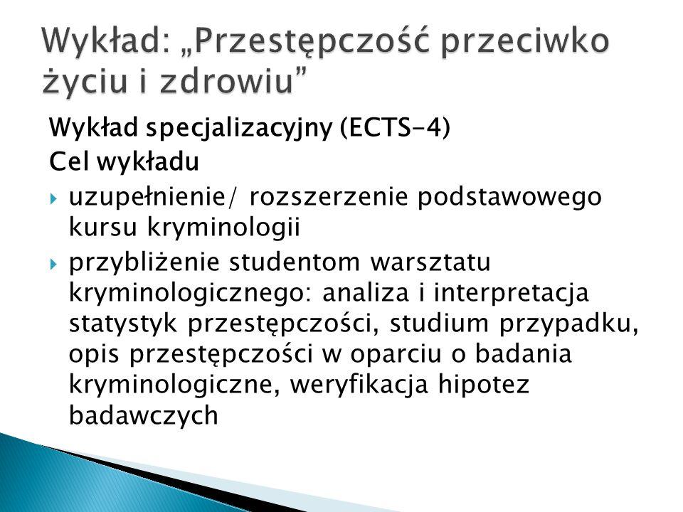 Wykład specjalizacyjny (ECTS-4) Cel wykładu  uzupełnienie/ rozszerzenie podstawowego kursu kryminologii  przybliżenie studentom warsztatu kryminolog