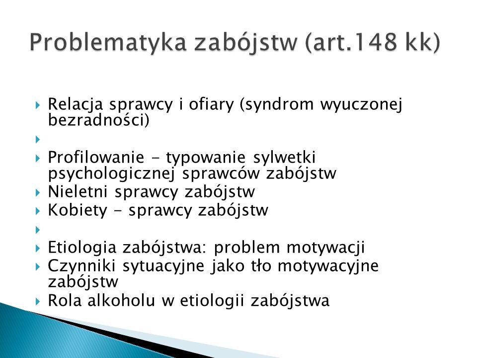  Relacja sprawcy i ofiary (syndrom wyuczonej bezradności)   Profilowanie - typowanie sylwetki psychologicznej sprawców zabójstw  Nieletni sprawcy