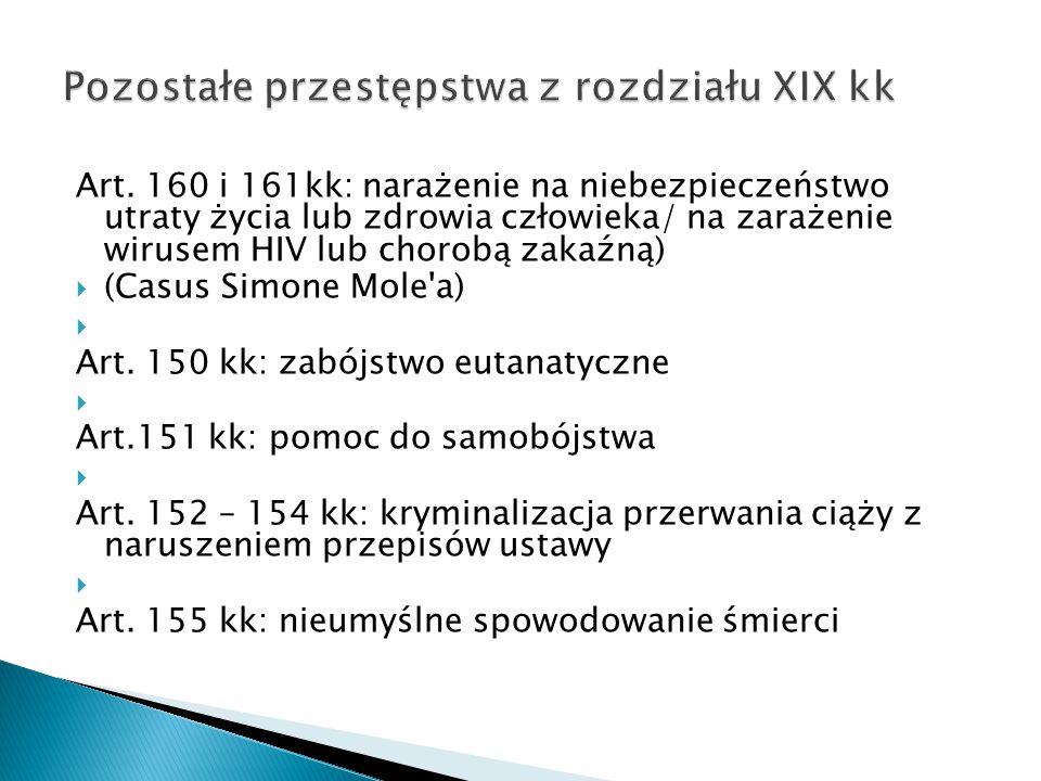 Art. 160 i 161kk: narażenie na niebezpieczeństwo utraty życia lub zdrowia człowieka/ na zarażenie wirusem HIV lub chorobą zakaźną)  (Casus Simone Mol