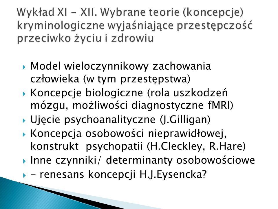  Model wieloczynnikowy zachowania człowieka (w tym przestępstwa)  Koncepcje biologiczne (rola uszkodzeń mózgu, możliwości diagnostyczne fMRI)  Ujęc