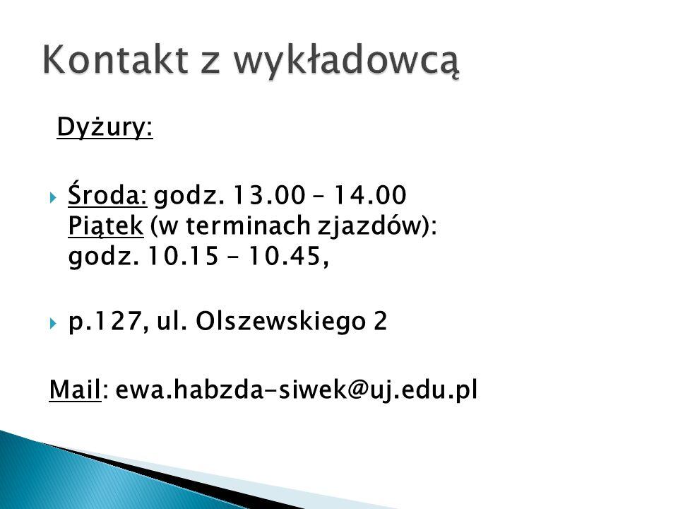 Dyżury:  Środa: godz. 13.00 – 14.00 Piątek (w terminach zjazdów): godz. 10.15 – 10.45,  p.127, ul. Olszewskiego 2 Mail: ewa.habzda-siwek@uj.edu.pl