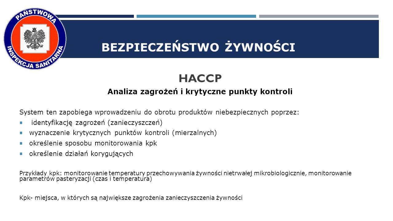 BEZPIECZEŃSTWO ŻYWNOŚCI HACCP Analiza zagrożeń i krytyczne punkty kontroli System ten zapobiega wprowadzeniu do obrotu produktów niebezpiecznych poprzez:  identyfikację zagrożeń (zanieczyszczeń)  wyznaczenie krytycznych punktów kontroli (mierzalnych)  określenie sposobu monitorowania kpk  określenie działań korygujących Przykłady kpk: monitorowanie temperatury przechowywania żywności nietrwałej mikrobiologicznie, monitorowanie parametrów pasteryzacji (czas i temperatura) Kpk- miejsca, w których są największe zagrożenia zanieczyszczenia żywności