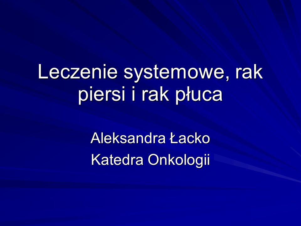 Leczenie systemowe, rak piersi i rak płuca Aleksandra Łacko Katedra Onkologii