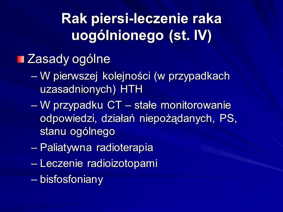 Rak piersi-leczenie raka uogólnionego (st. IV) Zasady ogólne –W pierwszej kolejności (w przypadkach uzasadnionych) HTH –W przypadku CT – stałe monitor