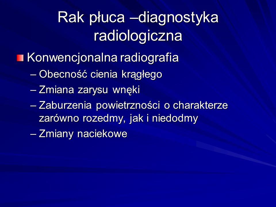 Rak płuca –diagnostyka radiologiczna Konwencjonalna radiografia –Obecność cienia krągłego –Zmiana zarysu wnęki –Zaburzenia powietrzności o charakterze