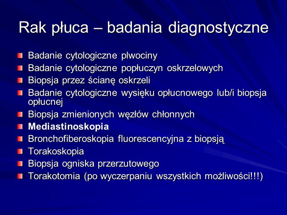 Rak płuca – badania diagnostyczne Badanie cytologiczne plwociny Badanie cytologiczne popłuczyn oskrzelowych Biopsja przez ścianę oskrzeli Badanie cyto