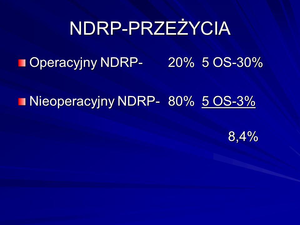 NDRP-PRZEŻYCIA Operacyjny NDRP- 20% 5 OS-30% Nieoperacyjny NDRP-80% 5 OS-3% 8,4%