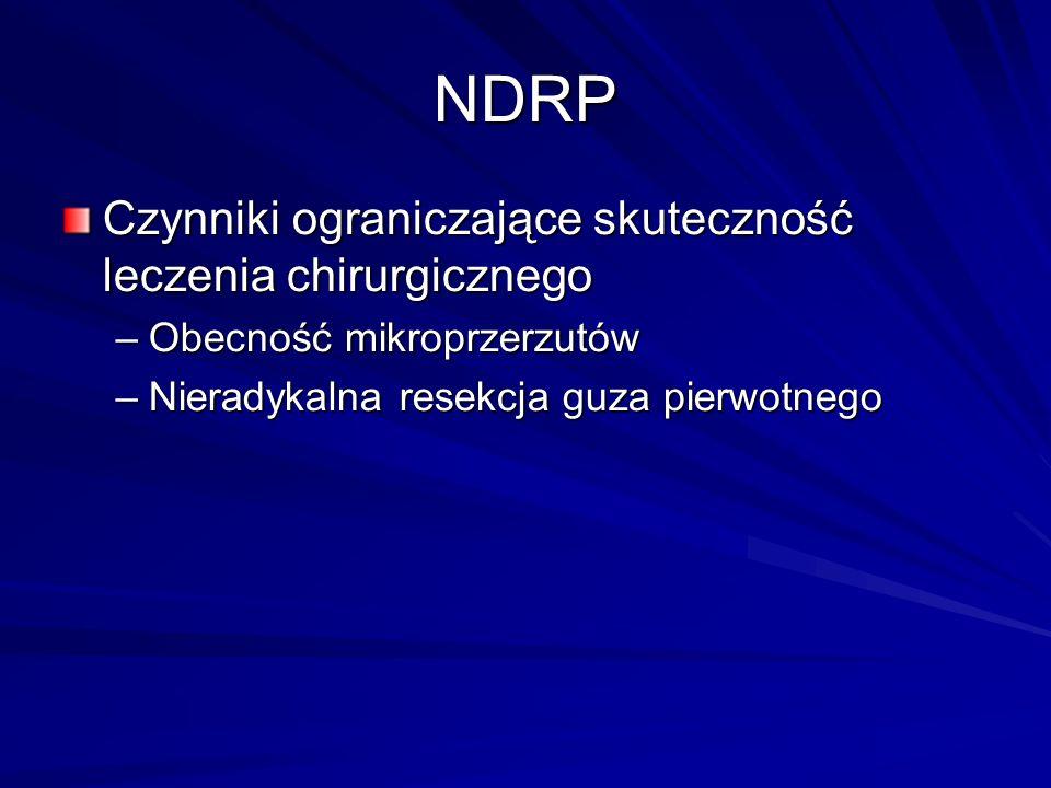 NDRP Czynniki ograniczające skuteczność leczenia chirurgicznego –Obecność mikroprzerzutów –Nieradykalna resekcja guza pierwotnego