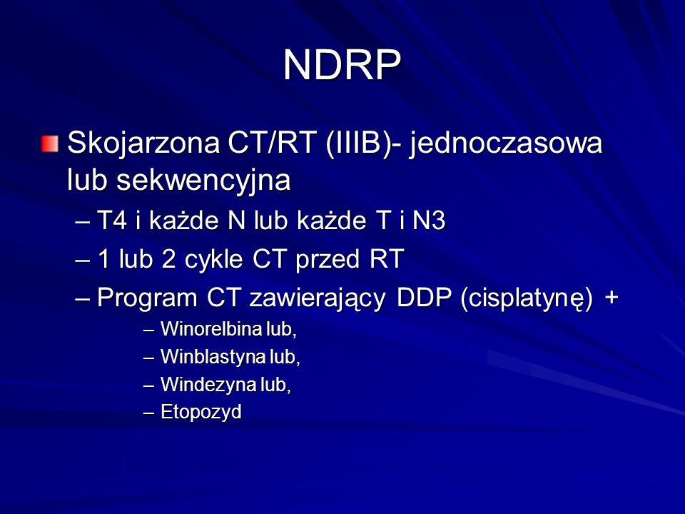 NDRP Skojarzona CT/RT (IIIB)- jednoczasowa lub sekwencyjna –T4 i każde N lub każde T i N3 –1 lub 2 cykle CT przed RT –Program CT zawierający DDP (cisp