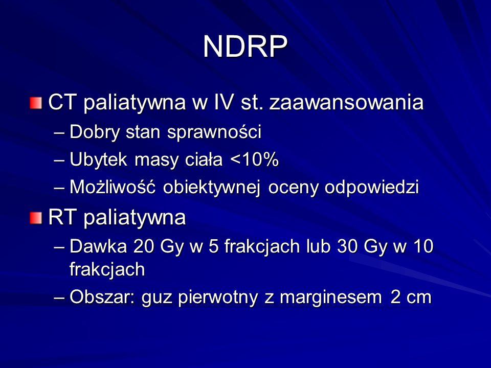 NDRP CT paliatywna w IV st. zaawansowania –Dobry stan sprawności –Ubytek masy ciała <10% –Możliwość obiektywnej oceny odpowiedzi RT paliatywna –Dawka