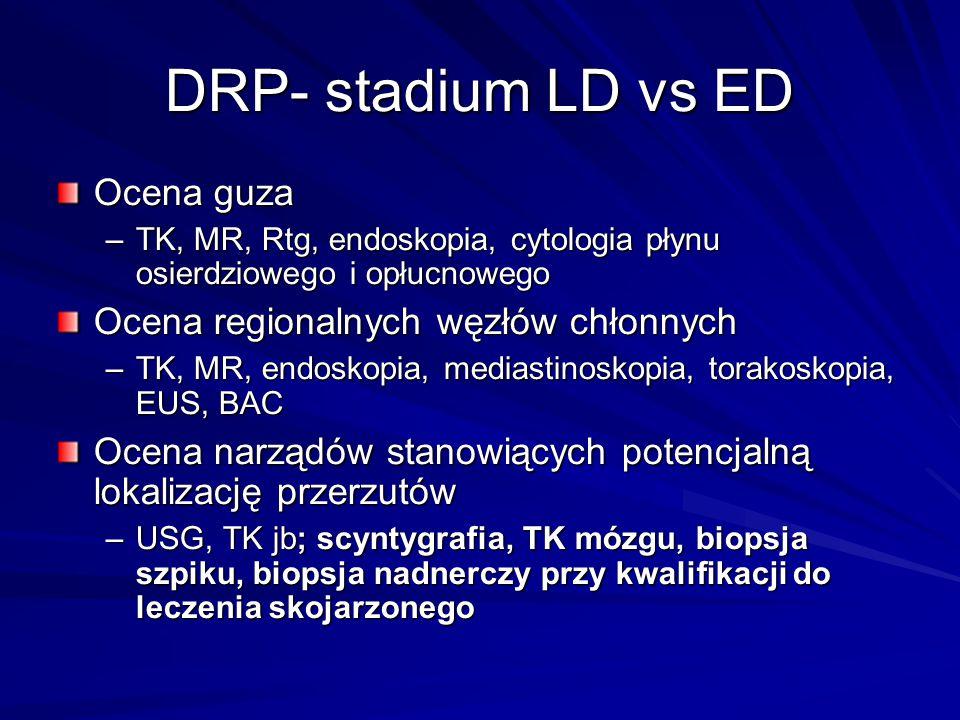DRP- stadium LD vs ED Ocena guza –TK, MR, Rtg, endoskopia, cytologia płynu osierdziowego i opłucnowego Ocena regionalnych węzłów chłonnych –TK, MR, en