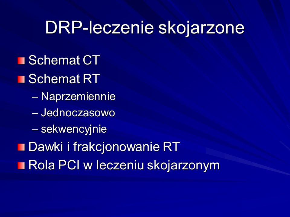 DRP-leczenie skojarzone Schemat CT Schemat RT –Naprzemiennie –Jednoczasowo –sekwencyjnie Dawki i frakcjonowanie RT Rola PCI w leczeniu skojarzonym