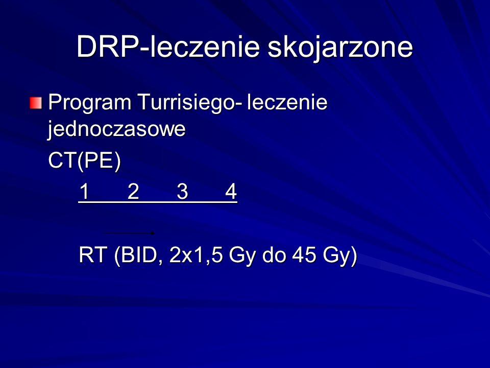 DRP-leczenie skojarzone Program Turrisiego- leczenie jednoczasowe CT(PE) 1234 RT (BID, 2x1,5 Gy do 45 Gy)