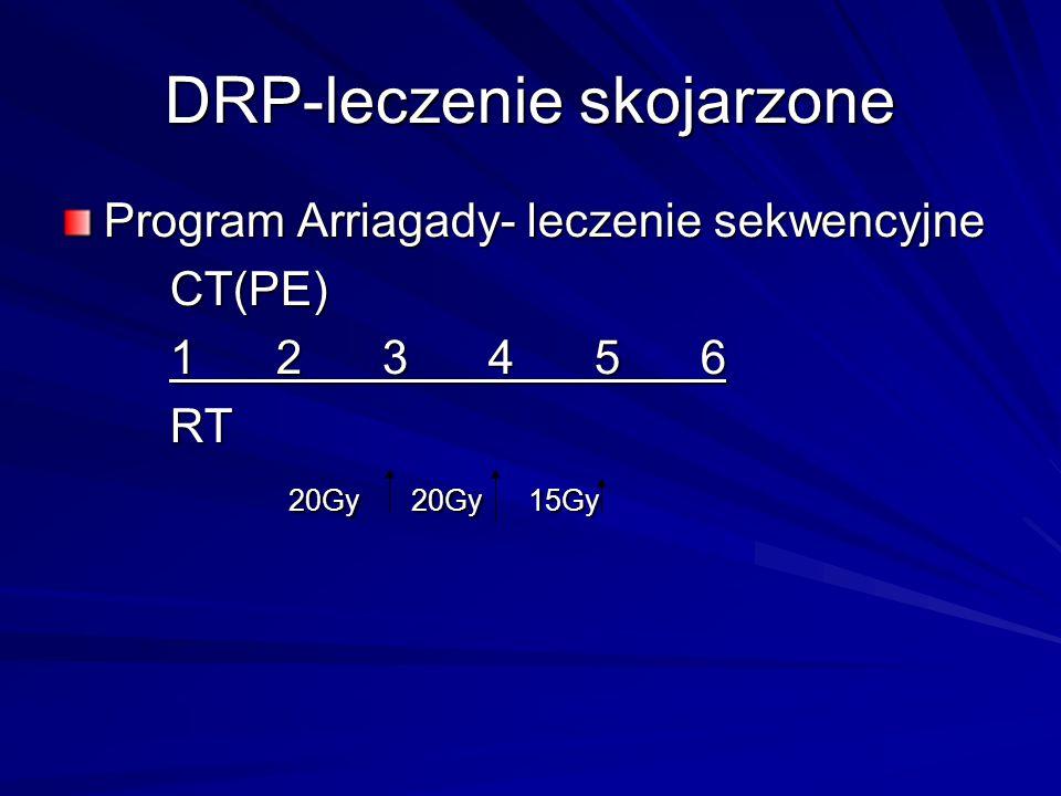 DRP-leczenie skojarzone Program Arriagady- leczenie sekwencyjne CT(PE) 123456 RT 20Gy 20Gy 15Gy 20Gy 20Gy 15Gy
