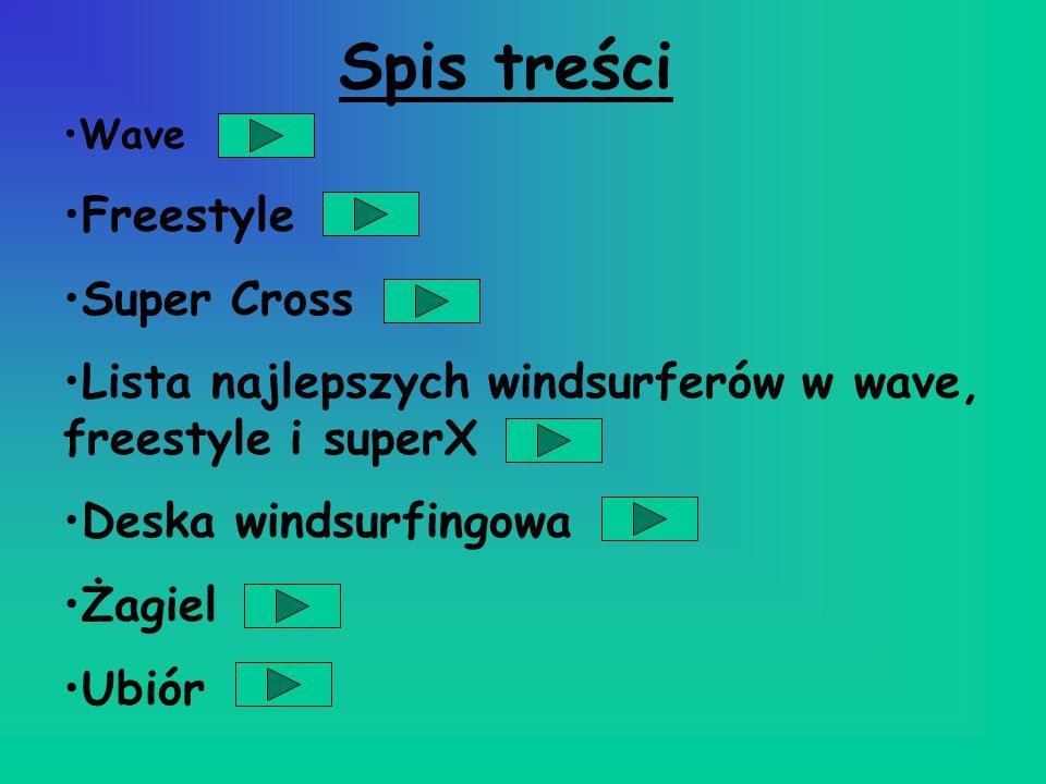 Spis treści Wave Freestyle Super Cross Lista najlepszych windsurferów w wave, freestyle i superX Deska windsurfingowa Żagiel Ubiór