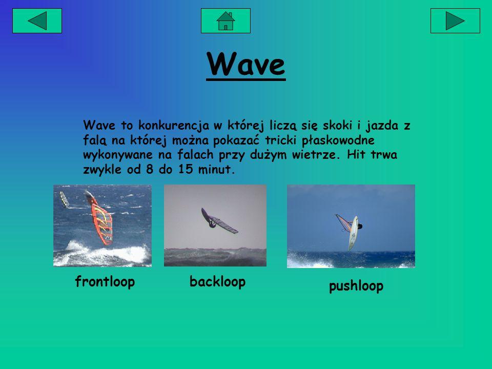 Wave Wave to konkurencja w której liczą się skoki i jazda z falą na której można pokazać tricki płaskowodne wykonywane na falach przy dużym wietrze.