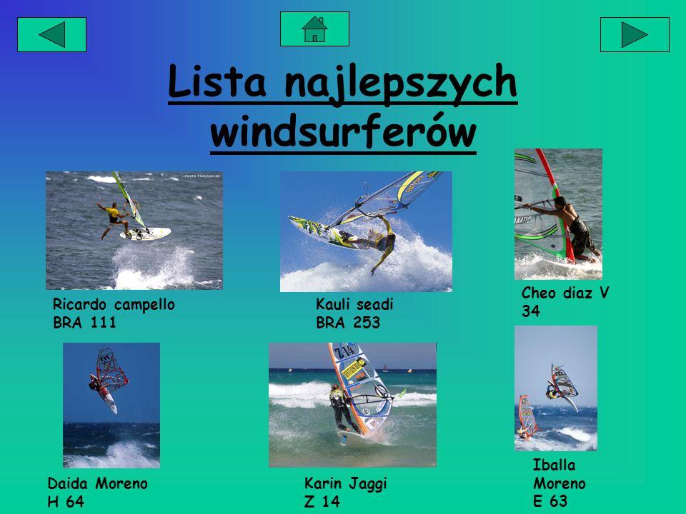 Lista najlepszych windsurferów Ricardo campello BRA 111 Kauli seadi BRA 253 Cheo diaz V 34 Daida Moreno H 64 Iballa Moreno E 63 Karin Jaggi Z 14