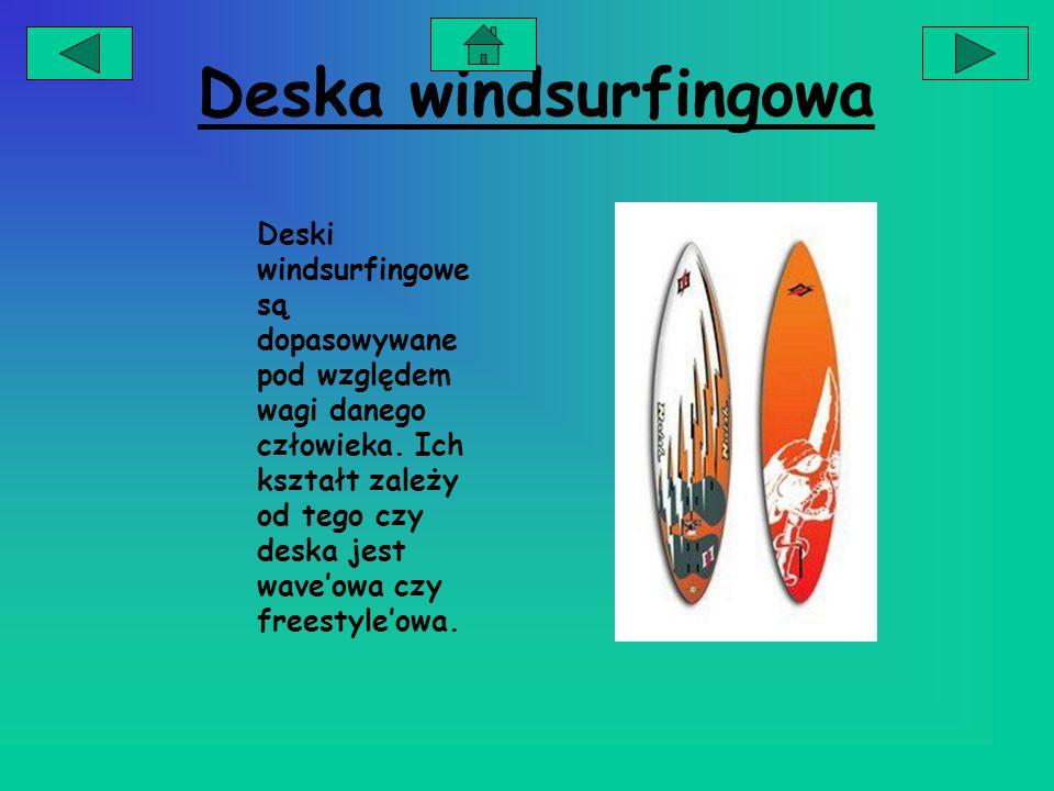Żagiel windsurfingowy Żagiel jest dopasowywany na podstawie wagi danego człowieka i siły wiatru.