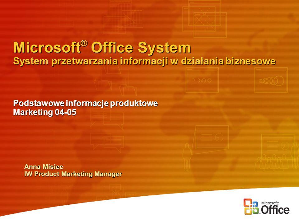 Office System – platforma do obiegu dokumentów i zarządzania informacją Office System – platforma do obiegu dokumentów i zarządzania informacją Office – Word, Outlook, Excel, PowerPoint… Office – Word, Outlook, Excel, PowerPoint… Wszystkie wersje Office 2003 wymagają Windows 2000 SP3 lub Windows XP!