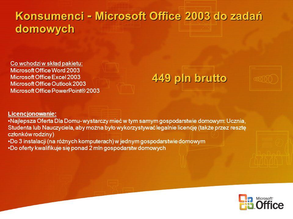 Konsumenci - Microsoft Office 2003 do zadań domowych 449 pln brutto Licencjonowanie: Najlepsza Oferta Dla Domu- wystarczy mieć w tym samym gospodarstwie domowym: Ucznia, Studenta lub Nauczyciela, aby można było wykorzystywać legalnie licencję (także przez resztę członków rodziny) Do 3 instalacji (na różnych komputerach) w jednym gospodarstwie domowym Do oferty kwalifikuje się ponad 2 mln gospodarstw domowych Co wchodzi w skład pakietu: Microsoft Office Word 2003 Microsoft Office Excel 2003 Microsoft Office Outlook 2003 Microsoft Office PowerPoint® 2003