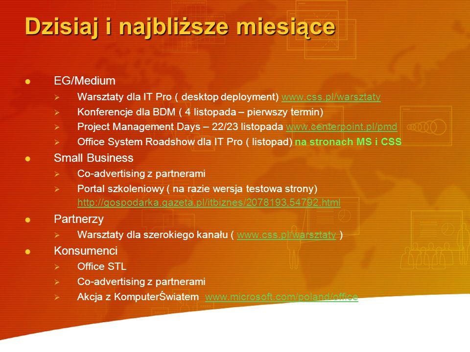 Dzisiaj i najbliższe miesiące EG/Medium   Warsztaty dla IT Pro ( desktop deployment) www.css.pl/warsztatywww.css.pl/warsztaty   Konferencje dla BDM ( 4 listopada – pierwszy termin)   Project Management Days – 22/23 listopada www.centerpoint.pl/pmdwww.centerpoint.pl/pmd   Office System Roadshow dla IT Pro ( listopad) na stronach MS i CSS Small Business   Co-advertising z partnerami   Portal szkoleniowy ( na razie wersja testowa strony) http://gospodarka.gazeta.pl/itbiznes/2078193,54792.html http://gospodarka.gazeta.pl/itbiznes/2078193,54792.html Partnerzy   Warsztaty dla szerokiego kanału ( www.css.pl/warsztaty )www.css.pl/warsztaty Konsumenci   Office STL   Co-advertising z partnerami   Akcja z KomputerŚwiatem www.microsoft.com/poland/officewww.microsoft.com/poland/office