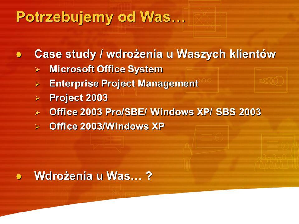 Potrzebujemy od Was… Case study / wdrożenia u Waszych klientów Case study / wdrożenia u Waszych klientów  Microsoft Office System  Enterprise Projec