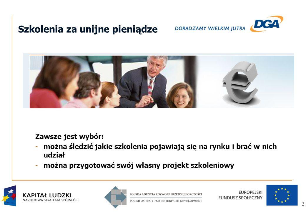 2 Szkolenia za unijne pieniądze Zawsze jest wybór: -można śledzić jakie szkolenia pojawiają się na rynku i brać w nich udział -można przygotować swój własny projekt szkoleniowy