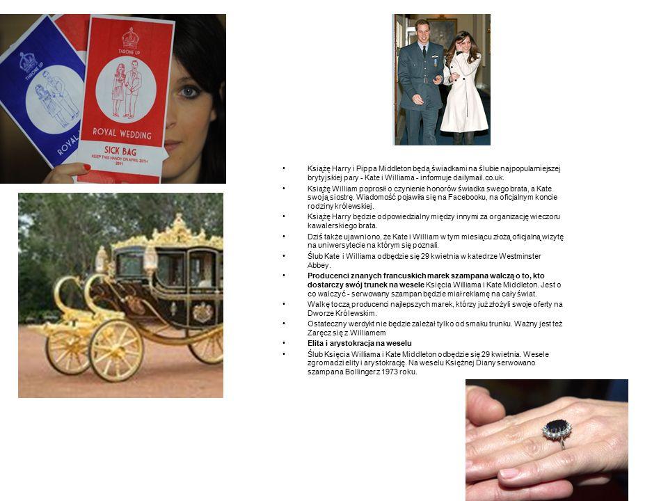 Książę Harry i Pippa Middleton będą świadkami na ślubie najpopularniejszej brytyjskiej pary - Kate i Williama - informuje dailymail.co.uk. Książę Will