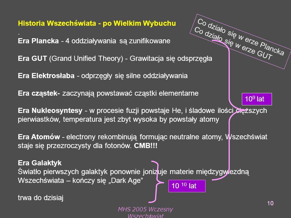 MHS 2005 Wczesny Wszechświat 10 Historia Wszechświata - po Wielkim Wybuchu.