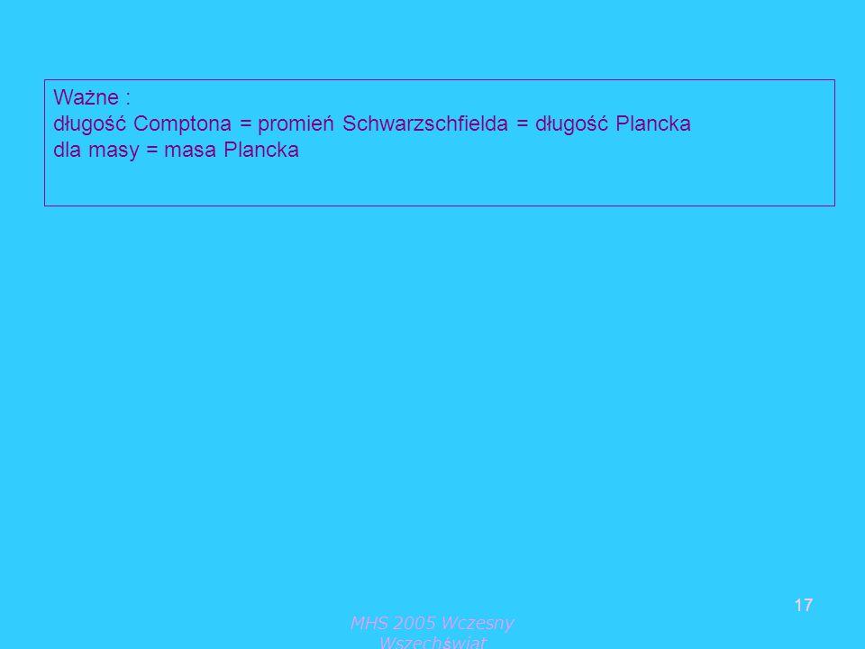 MHS 2005 Wczesny Wszechświat 17 Ważne : długość Comptona = promień Schwarzschfielda = długość Plancka dla masy = masa Plancka