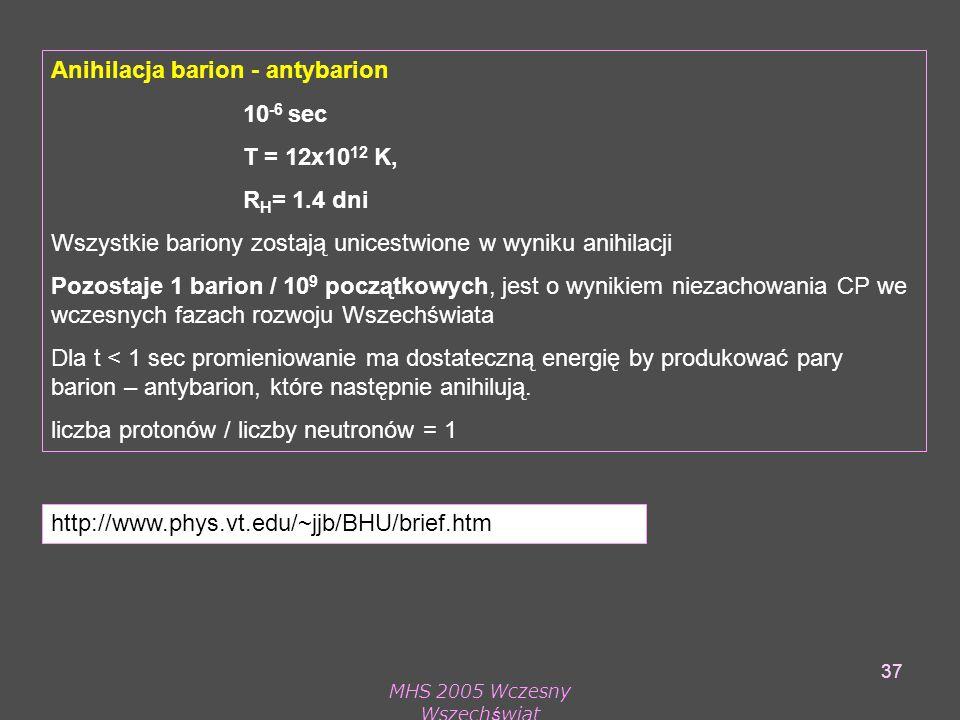 MHS 2005 Wczesny Wszechświat 37 Anihilacja barion - antybarion 10 -6 sec T = 12x10 12 K, R H = 1.4 dni Wszystkie bariony zostają unicestwione w wyniku anihilacji Pozostaje 1 barion / 10 9 początkowych, jest o wynikiem niezachowania CP we wczesnych fazach rozwoju Wszechświata Dla t < 1 sec promieniowanie ma dostateczną energię by produkować pary barion – antybarion, które następnie anihilują.