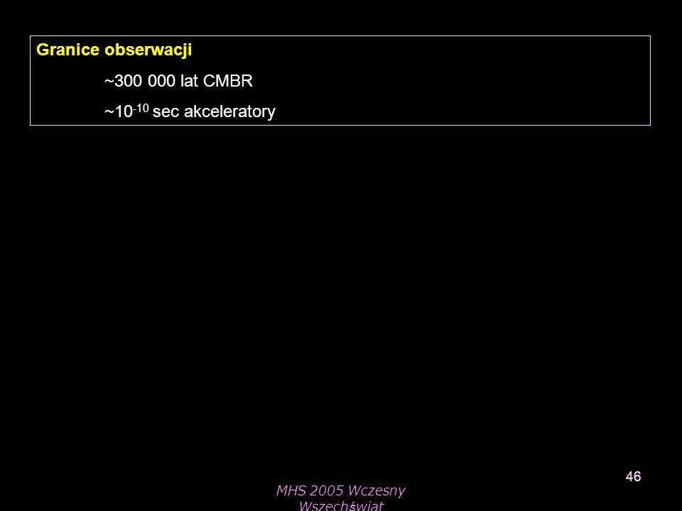 MHS 2005 Wczesny Wszechświat 46 Granice obserwacji ~300 000 lat CMBR ~10 -10 sec akceleratory