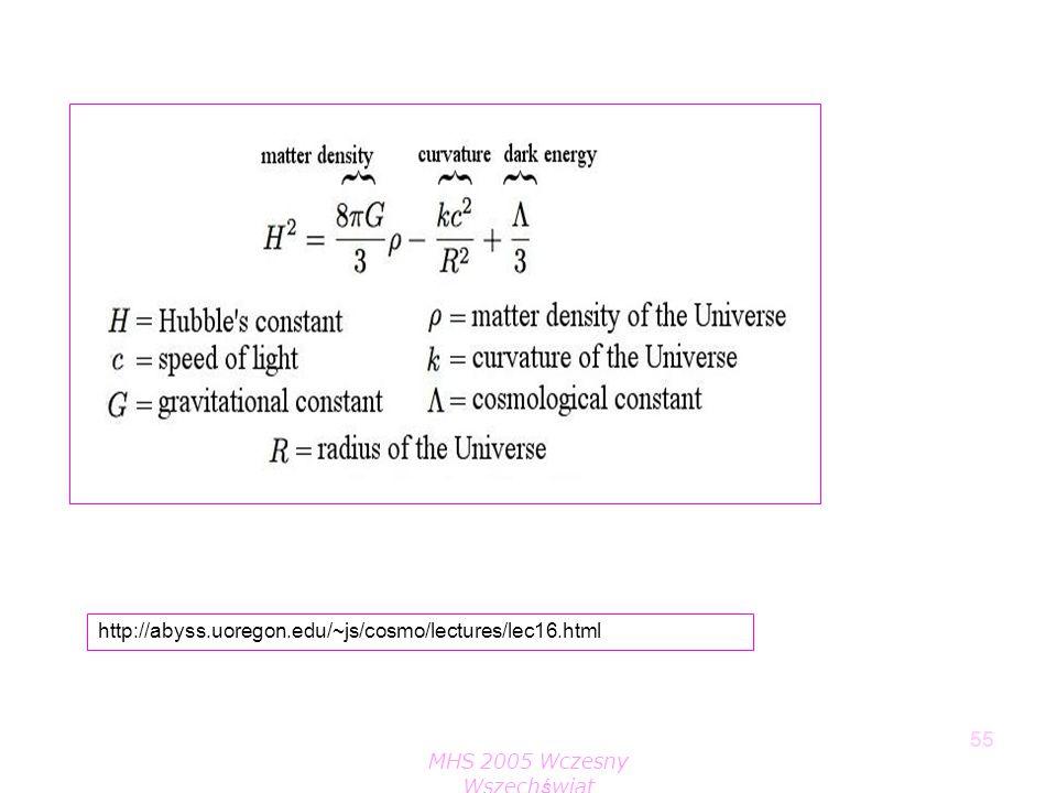 MHS 2005 Wczesny Wszechświat 55 http://abyss.uoregon.edu/~js/cosmo/lectures/lec16.html