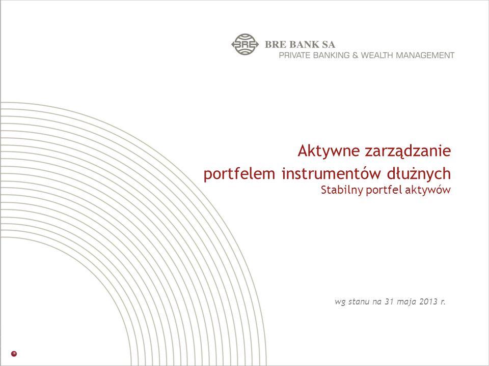 Aktywne zarządzanie portfelem instrumentów dłużnych Stabilny portfel aktywów wg stanu na 31 maja 2013 r.