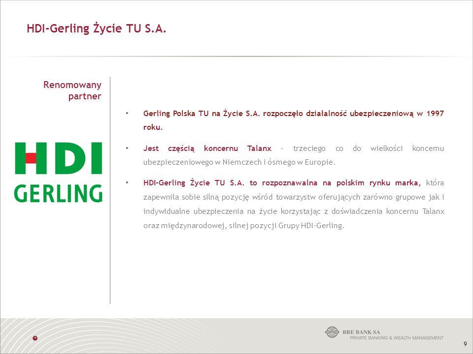Gerling Polska TU na Życie S.A.rozpoczęło działalność ubezpieczeniową w 1997 roku.