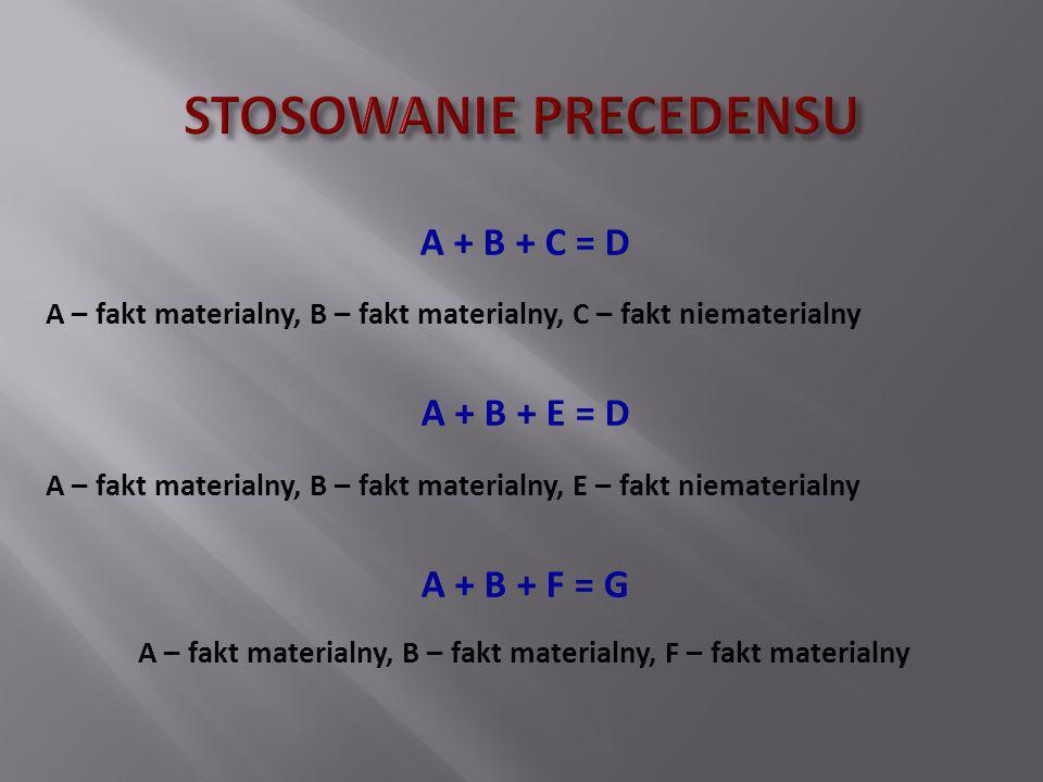 A + B + C = D A – fakt materialny, B – fakt materialny, C – fakt niematerialny A + B + E = D A – fakt materialny, B – fakt materialny, E – fakt niemat